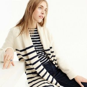 (J. CREW) Long Open Cardigan Sweater in Stripe